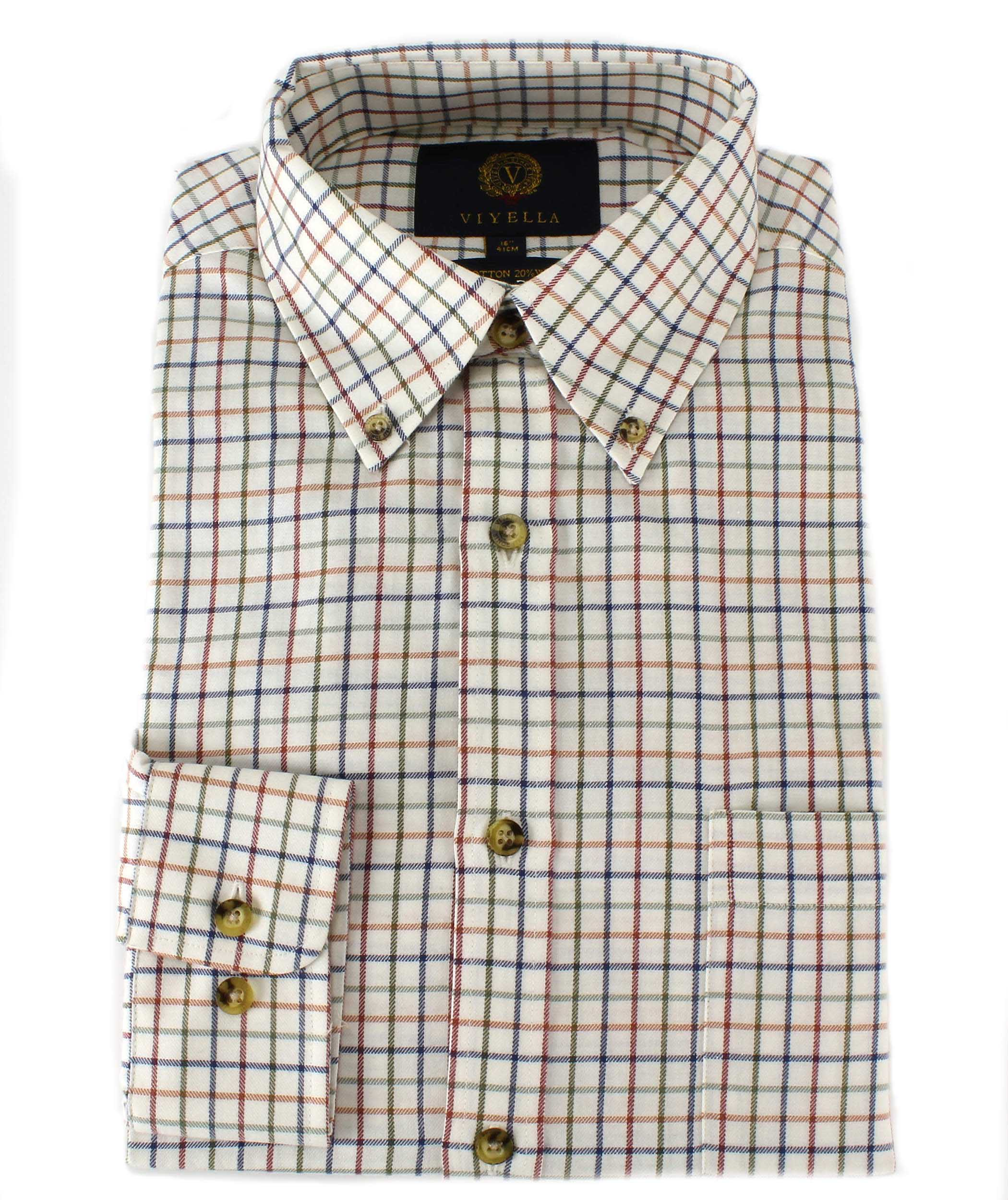 Viyella tattersall shirt with button down collar 80 for Wool button down shirt