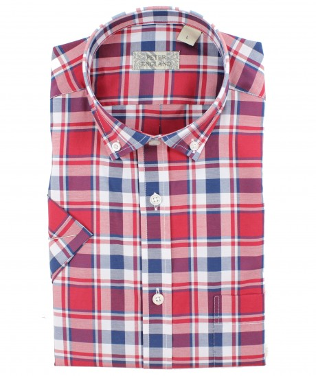 Peter England Large Red Check Short Sleeve Shirt