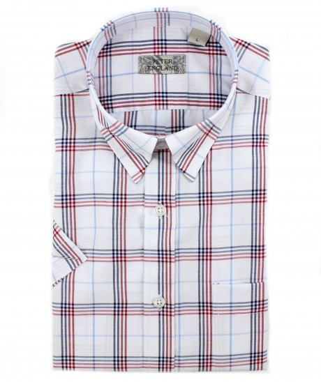 Peter England White Ground Red Check Short Sleeve Shirt