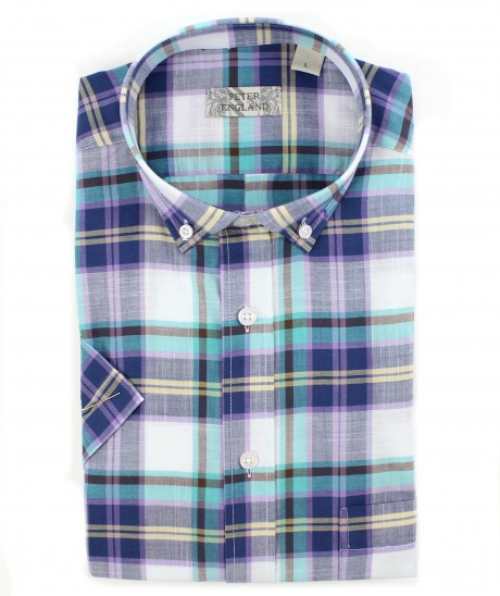 Peter England Turquoise Plaid Short Sleeve Shirt