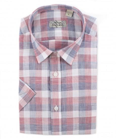 Peter England Red End on End Slub Check Short Sleeve Shirt