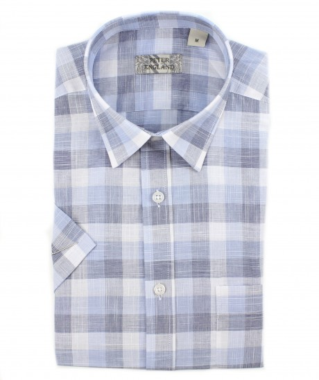 Peter England Blue End on End Slub Check Short Sleeve Shirt