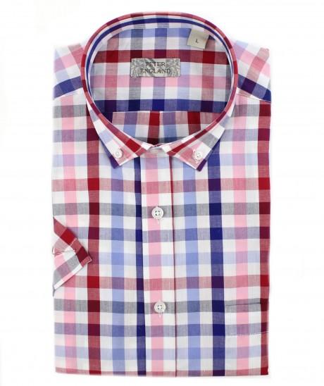 Peter England Red & Blue Block Check Short Sleeve Shirt