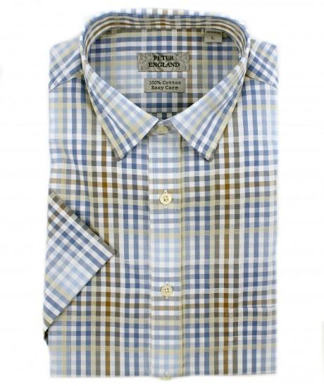 Peter England Blue Satin Check Short Sleeve Shirt