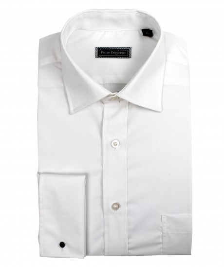 Peter England Mens Plain Double Cuff Shirt