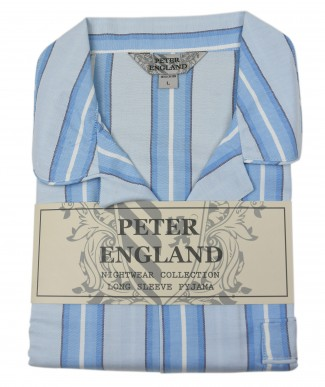 Peter England Blue Edged Block Stripe Warm Handle Pyjama