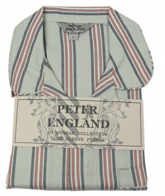 Peter England Green Block Stripe Warm Handle Pyjama