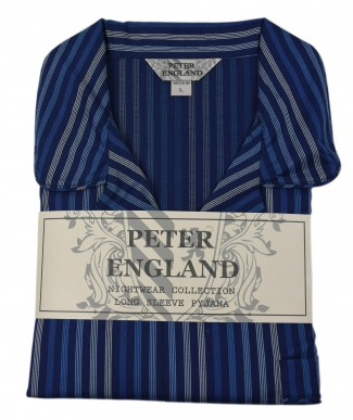 Peter England Navy Satin Stripe Pyjama