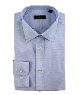 Peter England Cotton Light Blue Mini Check Shirt