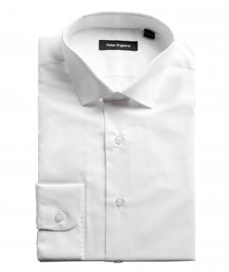 Peter England Mens Tailored Fit Cotton Rich Plain White Shirt