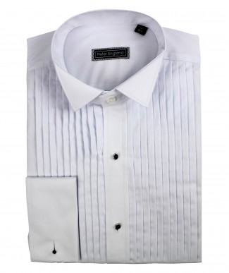 Peter England Machine Pleat Wing Collar Cotton Dress Shirt